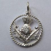 Sterling Silver Scottish Thistle in Circle Charm